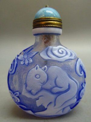 Chinese Peking Glass Carved Dog Bat Butterfly Pattern Snuff Bottle