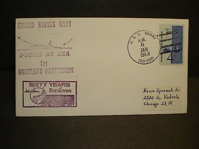 USS BARRY DD-933 Naval Cover 1963 Cachet WORKER's COMP Stamp