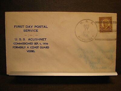 USS ACUSHNET AT-63 Naval Cover 1938 FDPS Cachet COAST GUARD TUGBOAT
