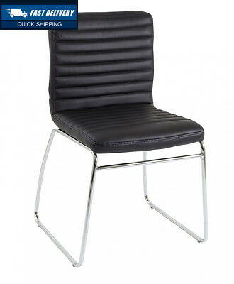 Office Hippo Leather Meeting Stacking Chair - Chrome Frame