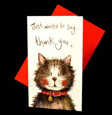 Pack of 5 Thank You Cards Cat Greeting Cards Alex Clark Glitter Cards Klaus Cat