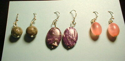 S635 Special  Lot of 3 pair dangle earrings handcrafted  very nice.