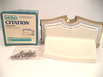 Vtg NOS Nutone Hall Mack Scoville Citation wall mount soap dish gold white