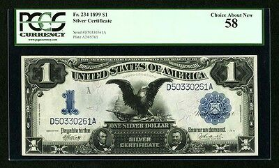 """1899 $1 Silver Certificate Black Eagle Fr-234 Certified Pcgs """"about New-58"""""""