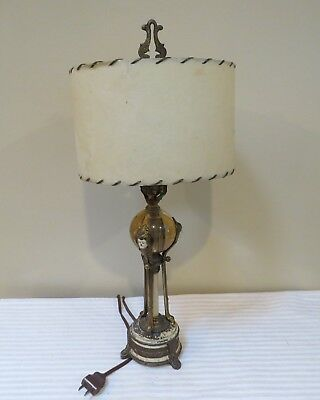 Antique Bronze and Glass Art Deco Lamp with Faces