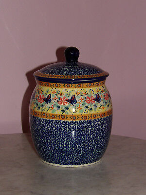 Genuine UNIKAT Polish Pottery 3 L Canister/Cookie Jar! Butterfly Summer Pattern!