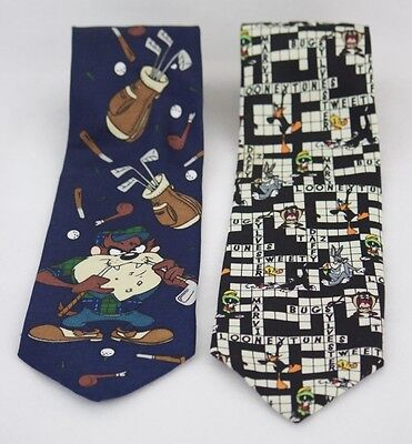 Lot of 2 Looney Tunes Ties: Crossword Puzzle And Taz Tasmanian Devil Golfing
