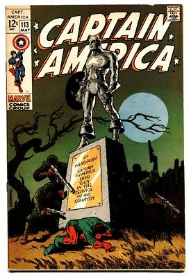 CAPTAIN AMERICA #113 comic book 1969 MARVEL STERANKO COVER & ART- VF
