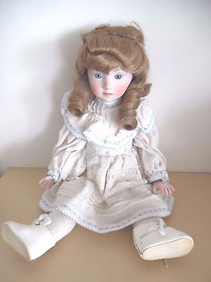 """Shader's Fine All Porcelain Doll """"Charlotte"""" Made in the U.S.A.Original Box"""