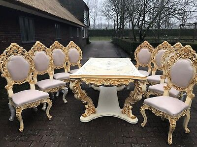Antique Italian Venetian Dining Room Set  (Table + 8 Chairs) Worldwide Shipping