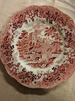 """J&G Meakin Romantic England Red 10"""" Dinner Plate Excellent Condition"""