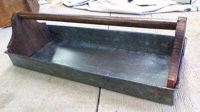 Large rustic Galvanized And Wood handle Tote tray Tool Garden Caddy