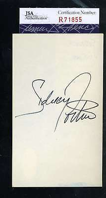 Sidney Poitier Jsa Coa Hand Signed 3X5 Index Card Authenticated Autograph