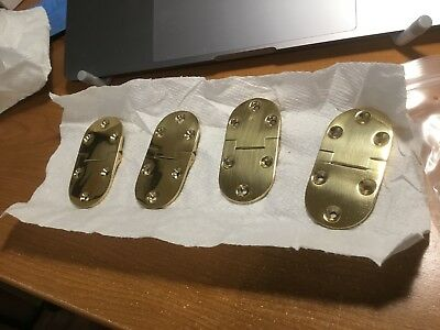 """Vintage Style Rounded Butler Tray Hinge Solid Brass 1.5"""" x 3"""""""