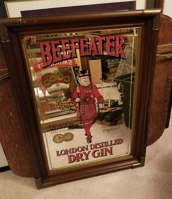 Vintage Beefeater London Distilled Dry Gin Bar Mirror Large Sign