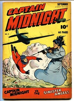 Captain Midnight #12 comic book 1943-Fawcett-Mac Raboy cover-WWII tommy gun