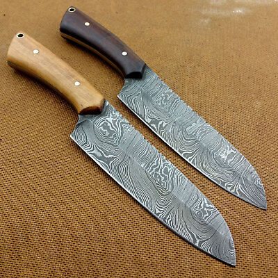 "LOT OF 2 - VHCut Hand Crafted Damascus Steel Knife ""TWIST"" Pattern OT110"