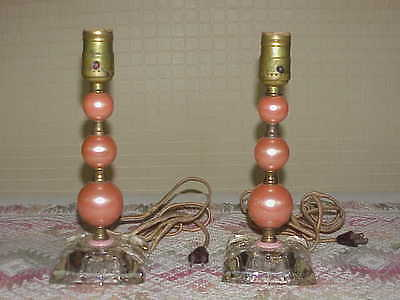 Pair Vintage Art Nouveau Boudoir Lamps Stacked Pearls Original Cloth or Rag Wire