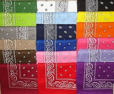 "U PICK COLOR COTTON PAISLEY BANDANA BANDANNA 22""x22"" FREE SHIPPING-18 COLORS"