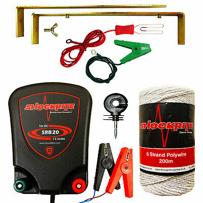 ShockRite Electric Fence Energiser Fencer 12V SRB20 0.2J Wire Insulators Kit