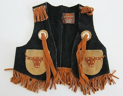 Vintage John R. Craighead Black Brown Suede Leather Western Vest Kids Size Small
