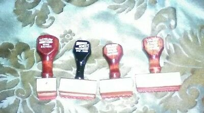 Lot of 4 WOOD MOUNTED vintage rubber stamps Original Information Action Personal