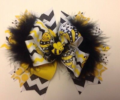 Boutique Hair Bow Big Bumble Bee Yellow & Black With Feathers Stacked Girl Clip