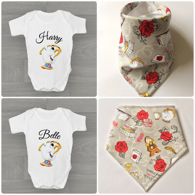 Beauty and the beast bandana bib and bodysuit bundle gift set chip