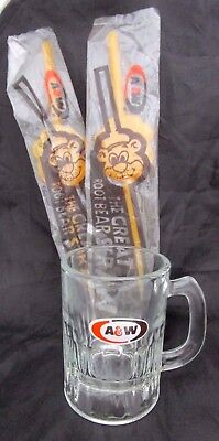 2 Vintage A&W Sealed Great Root Bear Beer Straw & Small Glass Mug