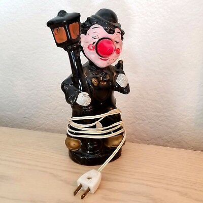 Vintage Night Light Ceramic Drunk Hobo on Lamp Post – Red Nose Man Cave, 1950's