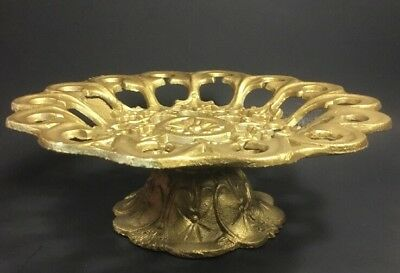 Cast Iron Filigree Cake Stand Gold Painted Very Heavy Decorative Vintage