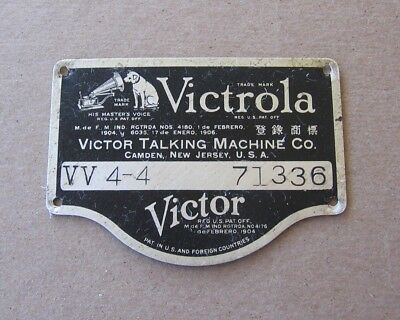 Antique Victrola Phonograph Victor Talking Machine VV 4-4 Metal ID Name Plate d