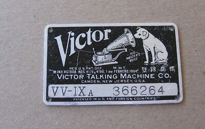 Antique 1904 Victor Talking Machine Phonograph VV-IX a Metal ID Name Plate Tag c