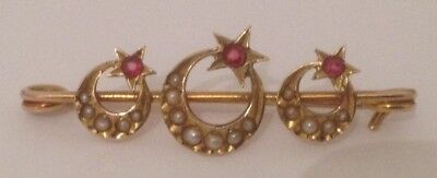 Antique Murrle Bennett 9ct Gold Ruby & Seed Pearl Crescent Brooch In Antique Box