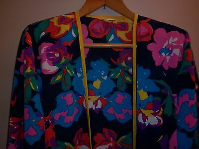 VINTAGE 1980s BRIGHT SUMMER BEACH JACKET / COVER UP  SIZE 16 EXCELLENT CONDITION