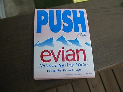 Evian  Natural Spring Water From The French Alps  Push/pull Decal  4-1/2 X 3-1/2