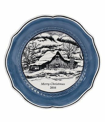 NIB Fitz & Floyd Bristol Collector Plate Dated 2016 Blue White New Original Box
