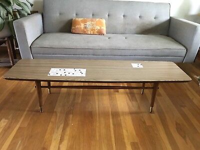 Mid Century Surfboard Tile Coffee Table Vintage Danish Long Wood Bench
