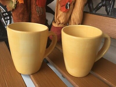 Yellow/mustard  Tabletops Unlimited Avellino Collection ,2 Coffee /Tea Cups Mugs