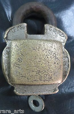 Antique Lock & Key industrial Padlock Aged brass Working Uncommon shackle Patent