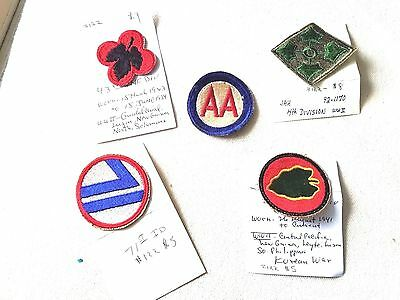 World War ll US ARMY INFANTRY PATCHES MILITARY CLOTH 24th 43rd 71st DIV LOT OF 5