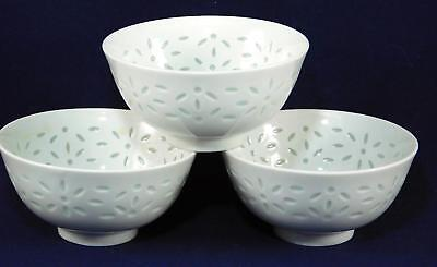 Vintage Chinese Pure White Rice Pattern Porcelain Rice Bowls set of 3