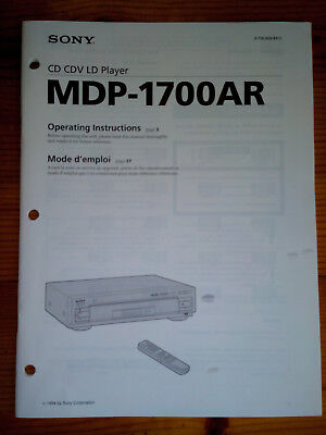 Sony MDP-1700AR CD/CDV/LD PLAYER Service Manual AND Operating Instructions - Ori
