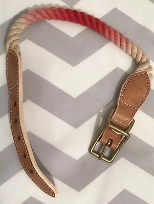 """⭐️ BABY GAP ⭐️ Toddler Girl's Hot Pink & Beige Leather Rope Buckle Belt 21"""" Long"""