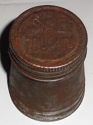 Antique Vintage Metal Oil Can Screw Down Cap SAE 10W30 On Lid RARE