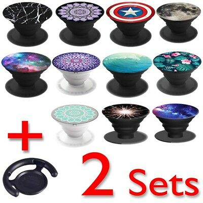 2 Sets  Cell mobile phone stand wall holder car mount earphone grip pop