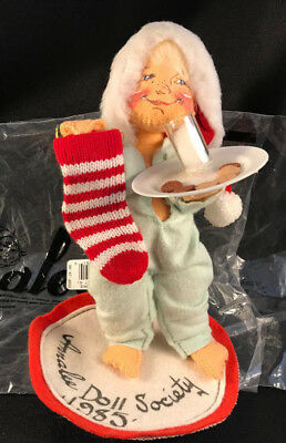 1985 Annalee Doll Society Logo Kid Milk Cookies For Santa Christmas Eve -- Euc!