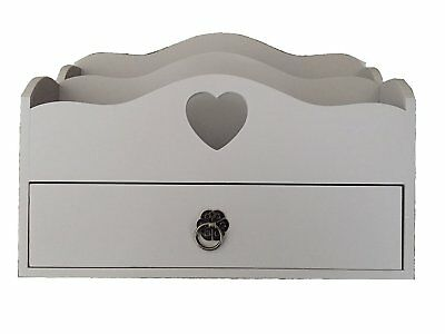Home Decor Vintage Style Heart Wooden Letter Rack Organiser - Grey