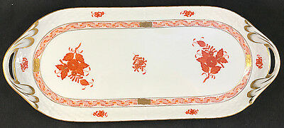 "Mint! Herend Chinese Bouquet Rust 436/aog 436 14.25"" Large Sandwich Bread Tray"