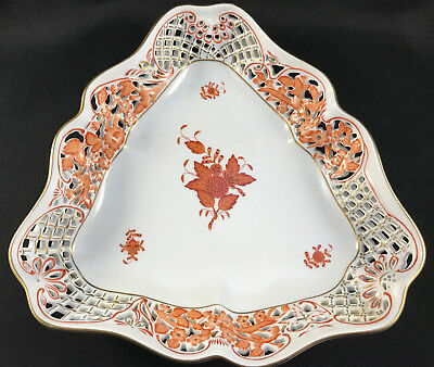 Mint! Herend Chinese Bouquet Rust 7397/aog 7397 Triangular Open Weave Basket